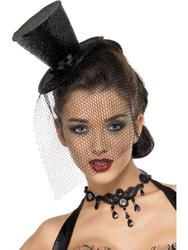 Fever Black Mini Top Hat Costume Accessory