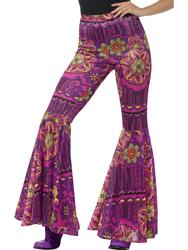 Flared Hippie Trousers Ladies Fancy Dress 60s Woodstock Hippy Adults Costime Acc