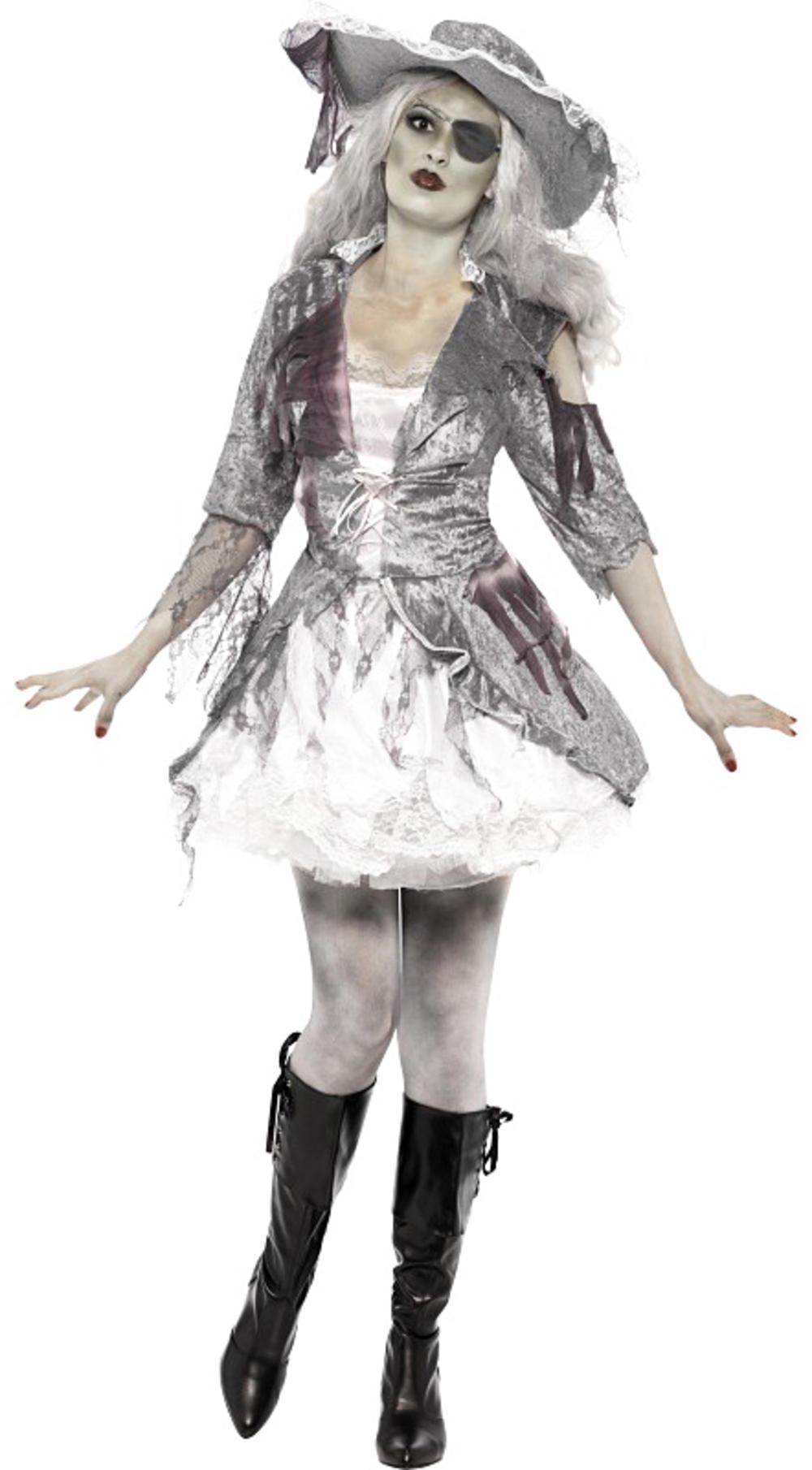 Ghost Ship Pirate Treasure Ladies Halloween Fancy Dress Horror Womens Costume