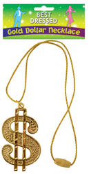 Gold Dollar Sign Necklace Costume Accessory
