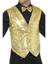Gold Sequin Waistcoat Cabaret Fancy Dress Showtime Adults Costume Accessory New