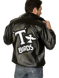 T-Birds 50s Grease Tbird Fancy Dress Costume Black Leather Look Mens Jacket