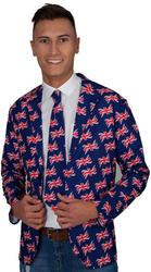 Great Britain Jacket & Tie Mens Fancy Dress Union Jack Flag Adults Costume Acc
