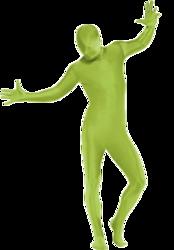 Green 2nd Skin Bodysuit Adult Fancy Dress Morph Suit Mens Ladies Novelty Costume