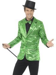 Green Sequin Jacket Cabaret Showmaster Mens Fancy Dress Blazer Adults Costume