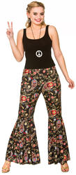 Groovy Hippie Flares Trousers Ladies Fancy Dress Hippy 60s 70s Adult Costume Acc