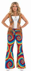 Tye Dye Ladies Multi-Coloured Flared Trousers Fancy Dress 1960s-70s Costume 8-30