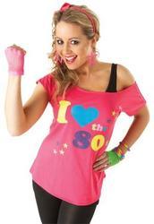 I Love the 80s T-Shirt Ladies Fancy Dress Retro 1980s Disco Adults Costume Top