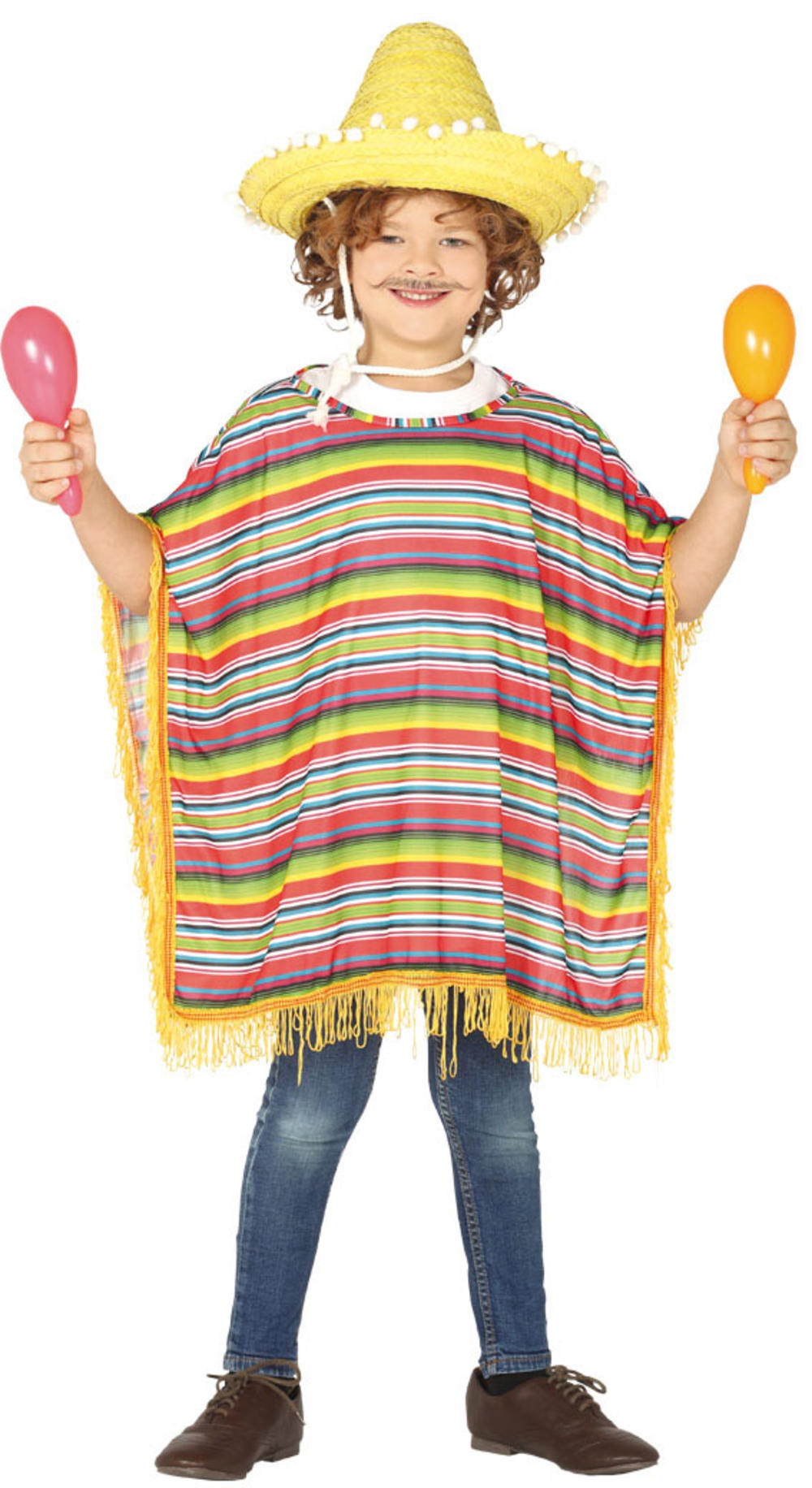 Kids Mexican Poncho Costume Accessory