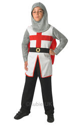 St George Knight Boys Fancy Dress Medieval Tudor Soldier Kids Book Day Costume