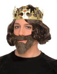 King Wig and Beard and Crown Set Costume Accessory