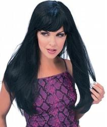 Long Black Glamour Wig Costume Accessory