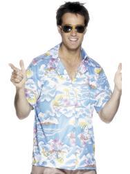 Blue Hawaiian Shirt Mens Fancy Dress Hawaii Summer Party Luau Adults Costume Top