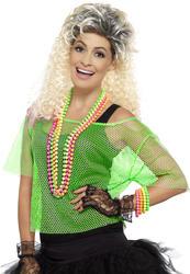 Neon Green Fishnet Top Ladies Fancy Dress 1980s Celebrity Womens Costume Acc New