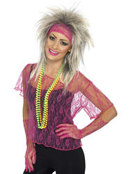 Neon Pink Lace Net Costume Accessory