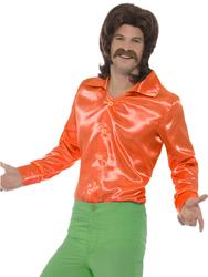 Orange 60s Shirt Mens Fancy Dress 70s Groovy Hippy Top Adults Costume Accessory