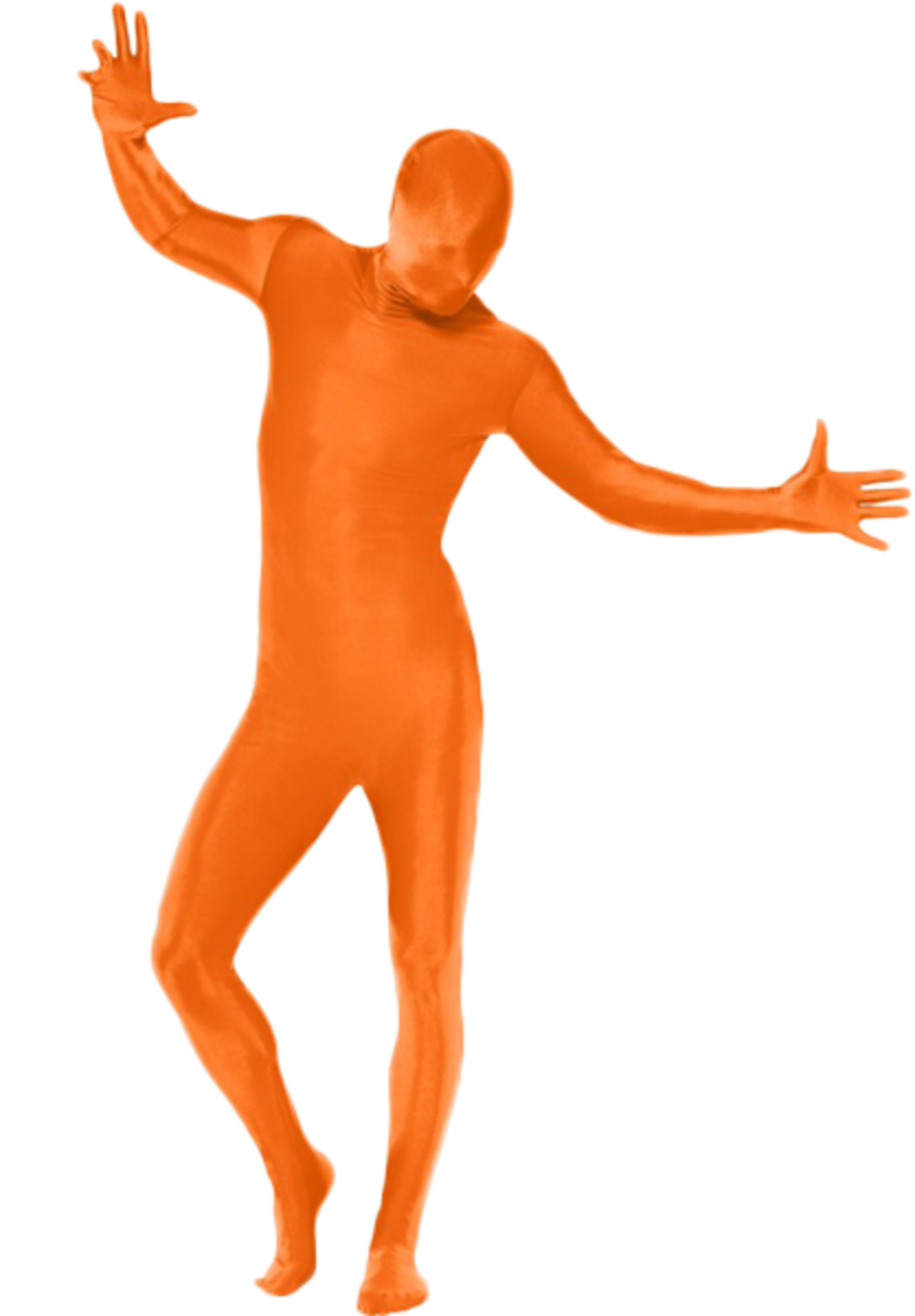 Orange 2nd Skin Body Suit Fancy Dress Lycra Bodysuit Mens Ladies Adults Costume