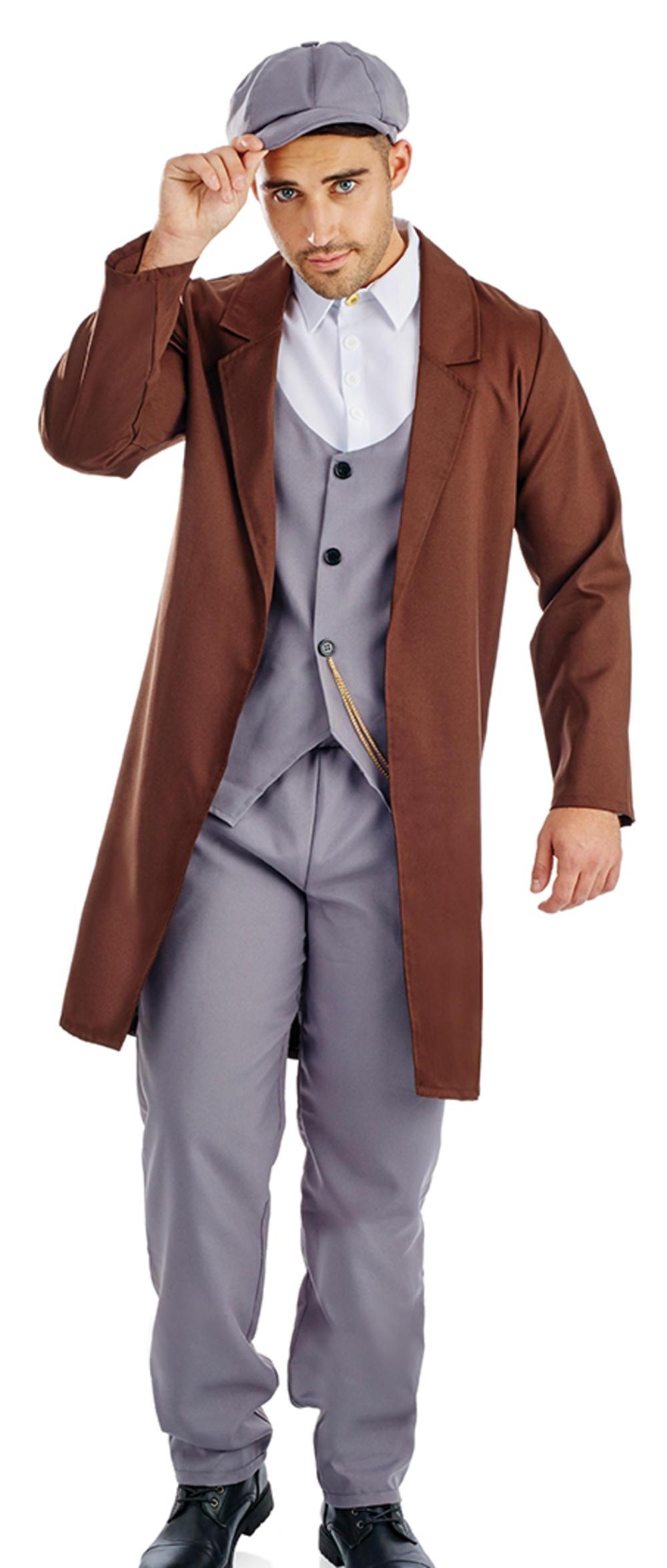 Peaked Cap Gangster Mens Fancy Dress 20s Mob Boss Lock Stock Mafia Adult Costume