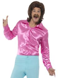 Pink 60s Shirt Retro Mens Fancy Dress Groovy 70s Disco Adult Costume Accessory