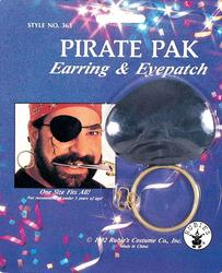 Pirate Earring and Eye Patch Pack Costume Accessory