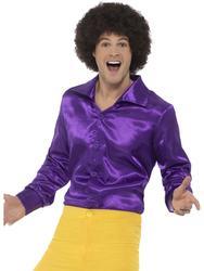 Purple 60s Shirt Mens Fancy Dress 70s Groovy Disco Hippie Adults Costume Top