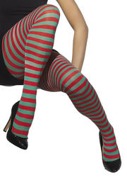 Red and Green Opaque Women's Tights Costume Accessory