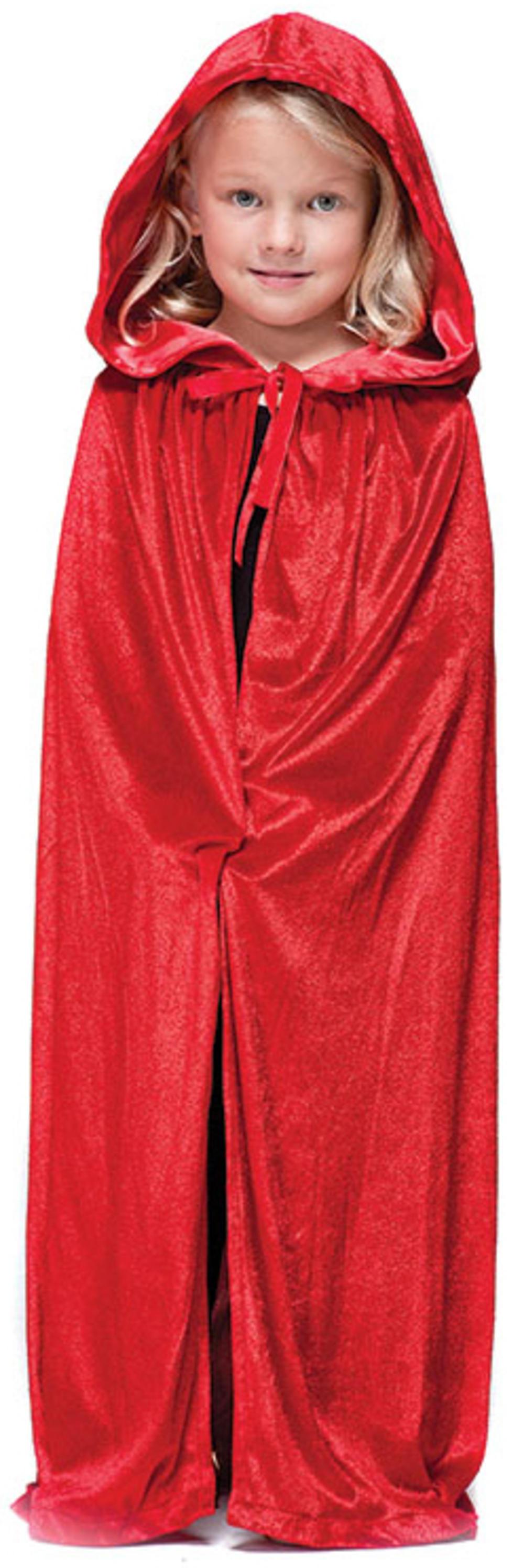 Red Velvet Hooded Cloak Costume Accessory