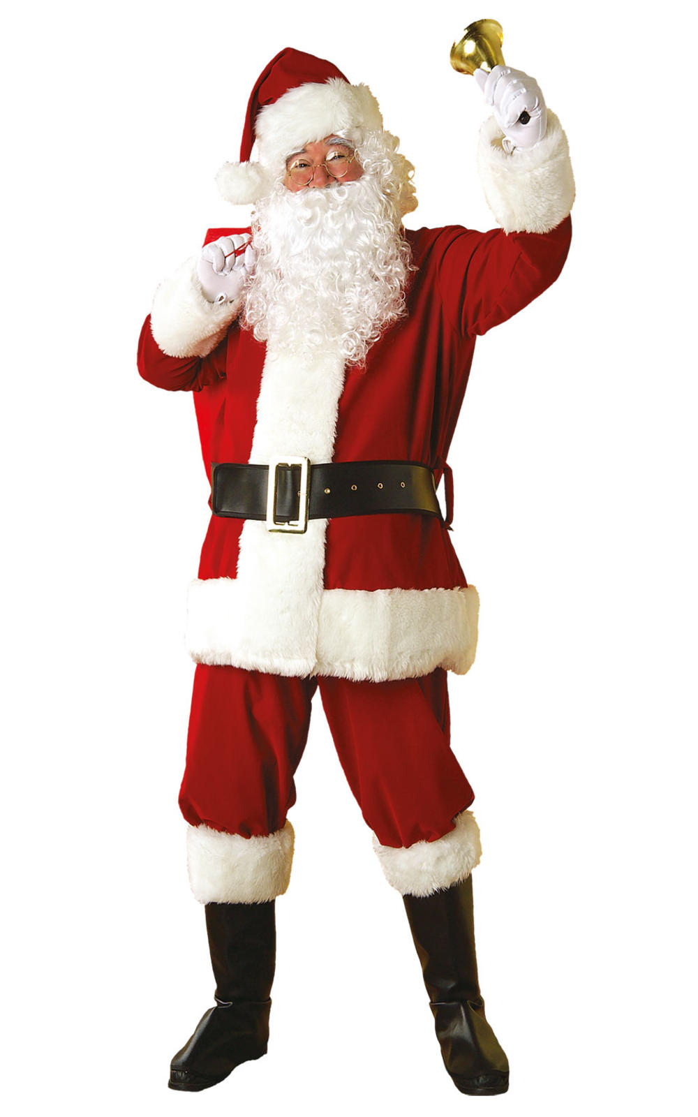 Regency Plush Santa Claus Suit Mens Fancy Dress Father Christmas Mens Costume
