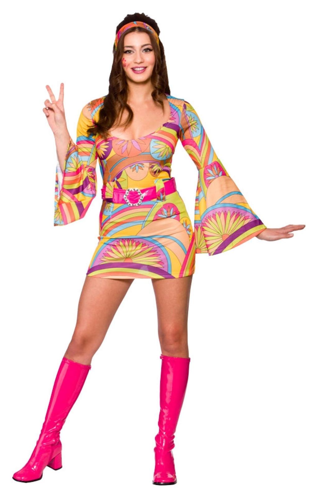 Retro Go Go Hippy Girl Ladies Fancy Dress Groovy 60s 70s Hippie Adults Costume