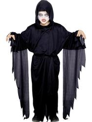 Kids Black Screamer Ghost Reaper Robe Scary Childs Halloween Fancy Dress Costume