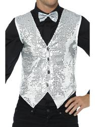 Silver Sequin Waistcoat Adults Fancy Dress Cabaret Showtime Costume Accessory