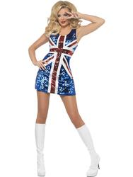 Union Jack Bling Fancy Dress Olympics British Ladies Pop Star Womens Costume New