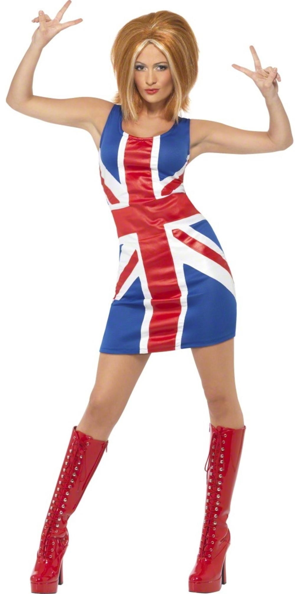 Union Jack Fancy Dress Ladies Spice Girl Pop Star National Celebrity Costume New