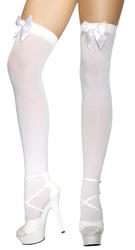 White Stockings with White Bows Costume Accessory