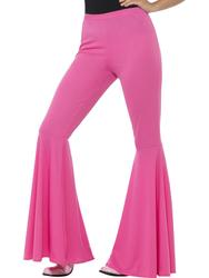Pink Flared Trousers Ladies 60s 70s Flares Hippy Disco Adults Womens Fancy Dress