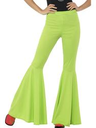 Green Flared Trousers Ladies 60s Neon Flares Hippy Disco Adult Women Fancy Dress