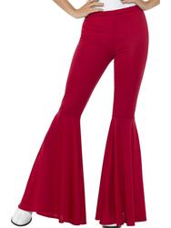 Red Flared Trousers Ladies 60s 70s Flares Hippy Disco Adults Womens Fancy Dress