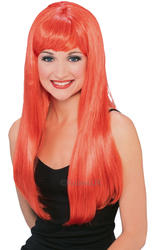 Women's Red Glamour Fancy Dress Wig Costume Accessory