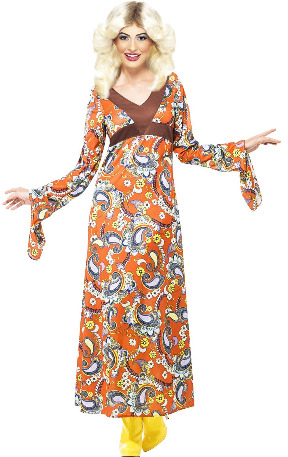 60s Woodstock Hippie Ladies Fancy Dress 1960s 70s Hippy Festival Adults Costume
