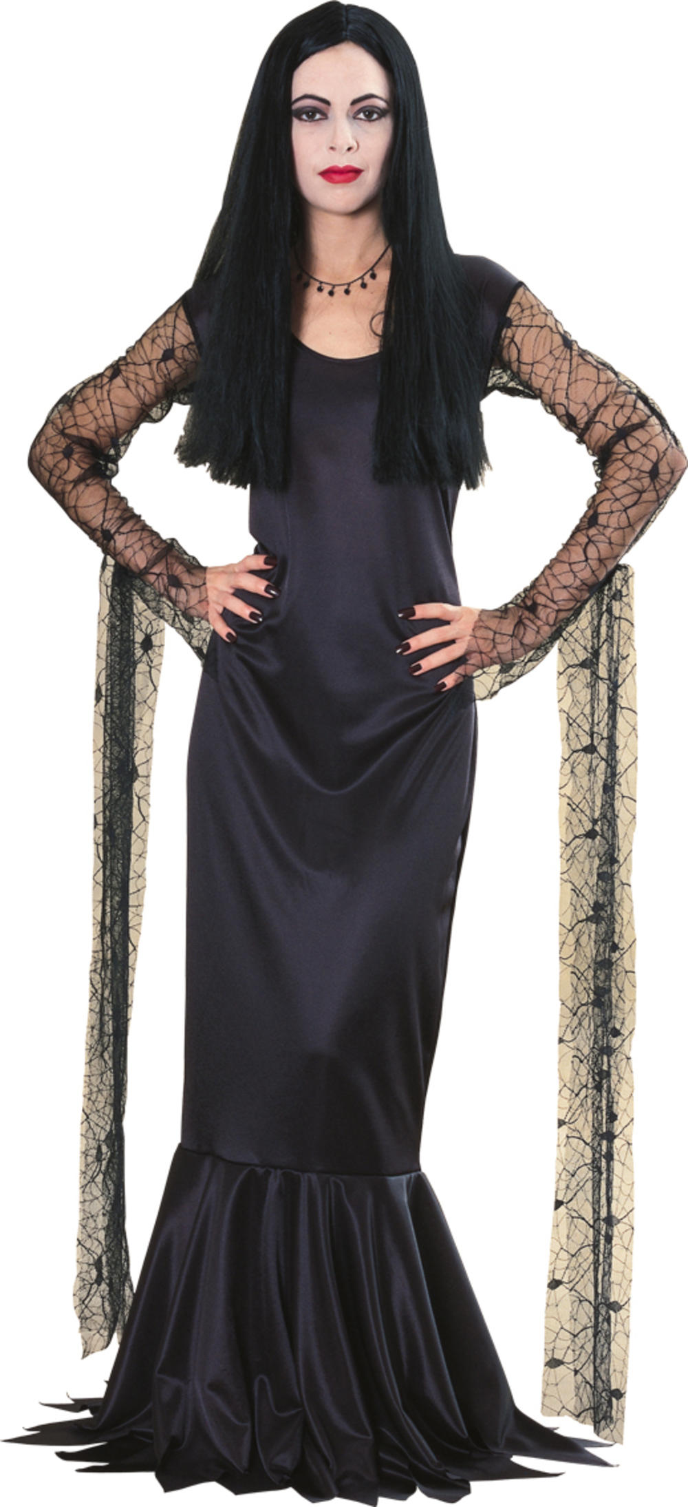 Morticia Addams Family Ladies Fancy Dress Halloween TV Show Adults Costume New