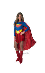 Classic Supergirl Ladies Fancy Dress Superman Superhero Costume Adults Outfit
