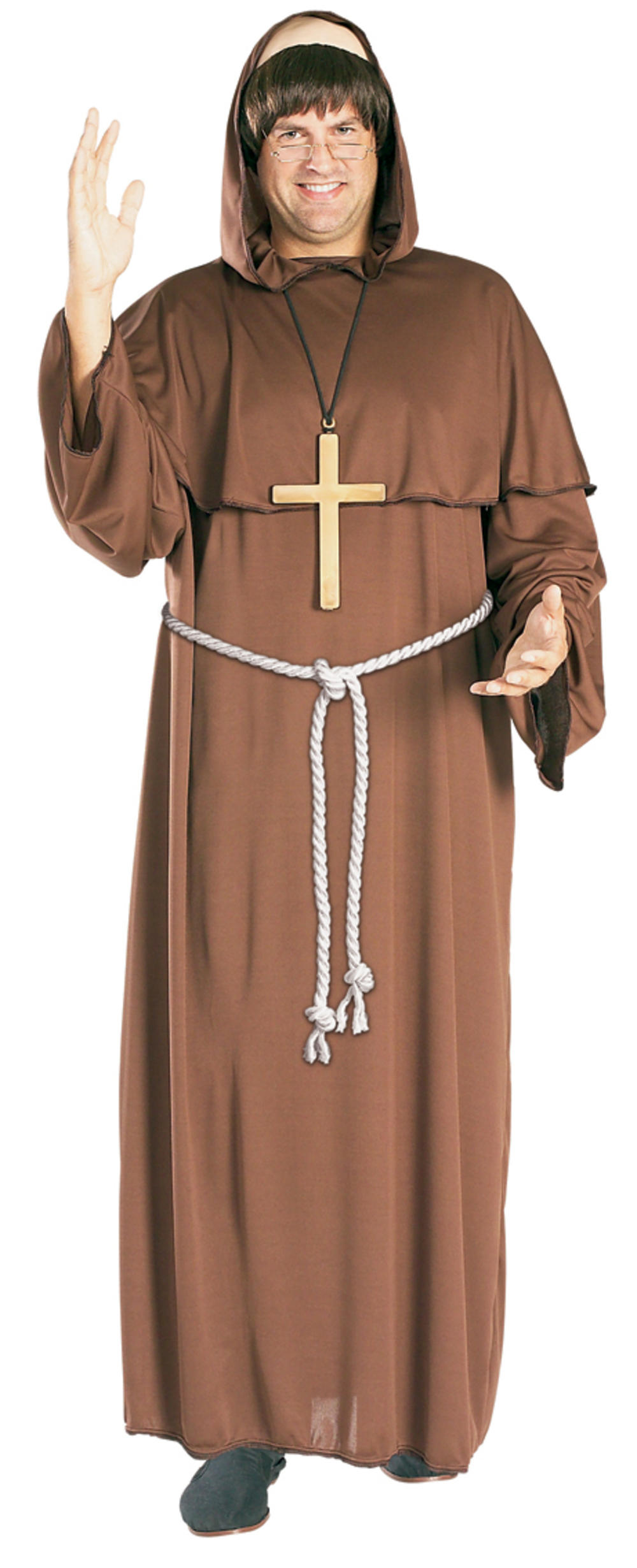 Friar Tuck Mens Fancy Dress Robin Hood Medieval Priest Monk Costume Outfit + Wig