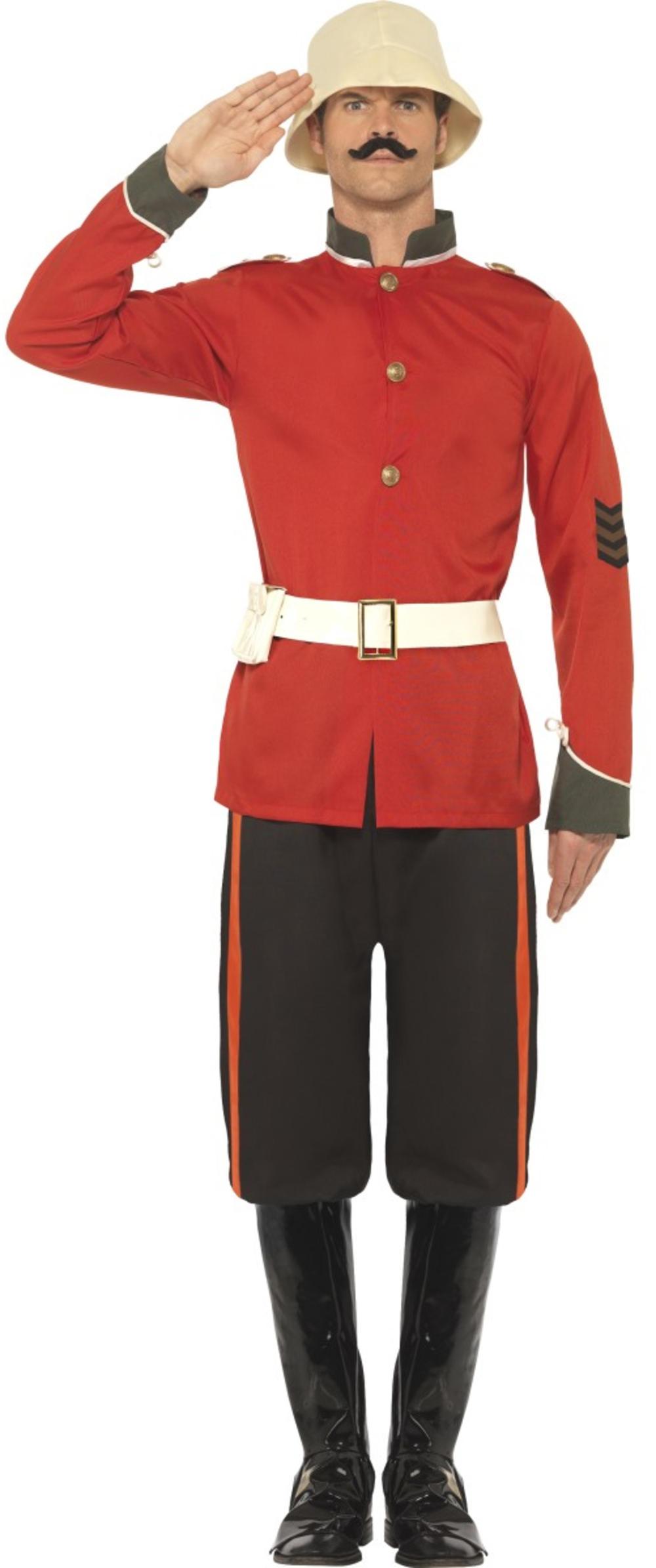 Boer War Soldier Mens Fancy Dress British Military Army Uniform Adults Costume