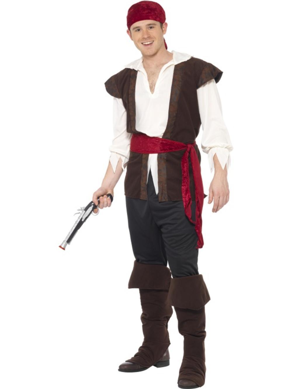 Pirate Mens Fancy Dress Caribbean Buccaneer Shipmate Adults Book Week Costume