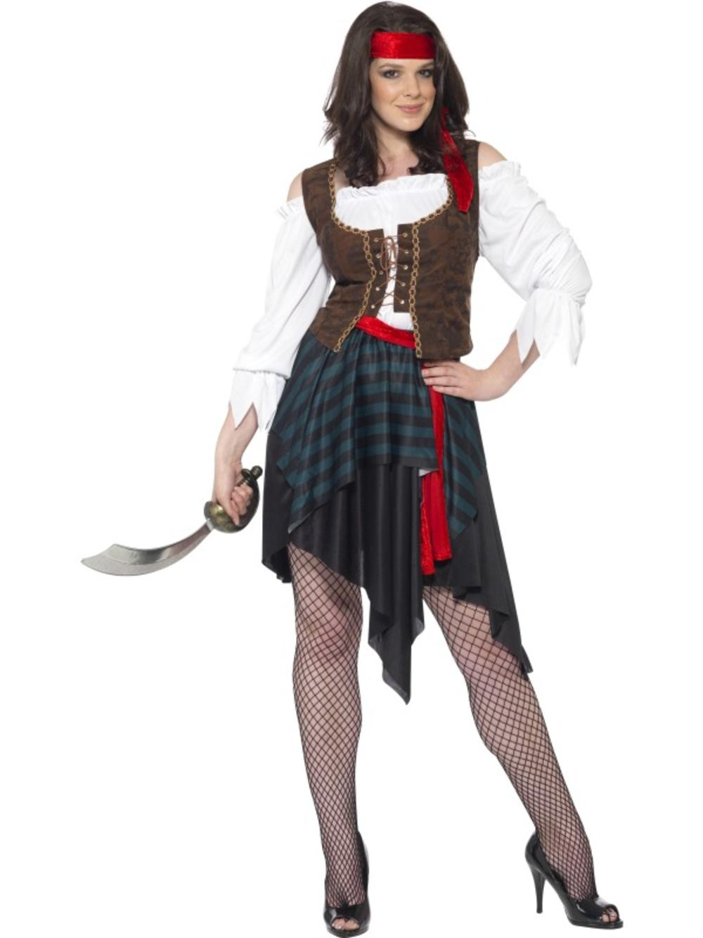 Ladies Sexy Pirate Costume + Headband Womens Adults Shipmate Fancy Dress Outfit