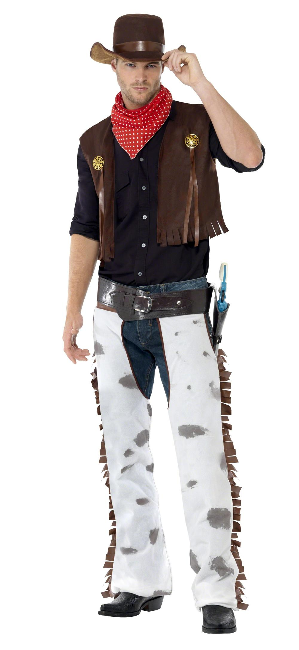 Cowboy Costume Mens Western Wild West Fancy Dress Adult Male Outfit + Hat New