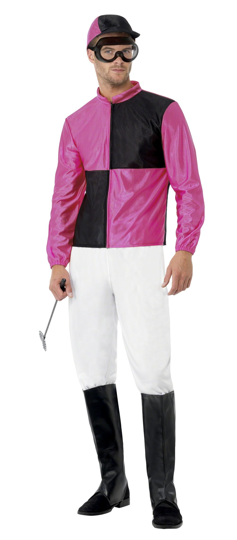 Jockey Mens Fancy Dress Sports Pink Racing Horse Rider Polo Adult Costume Outfit