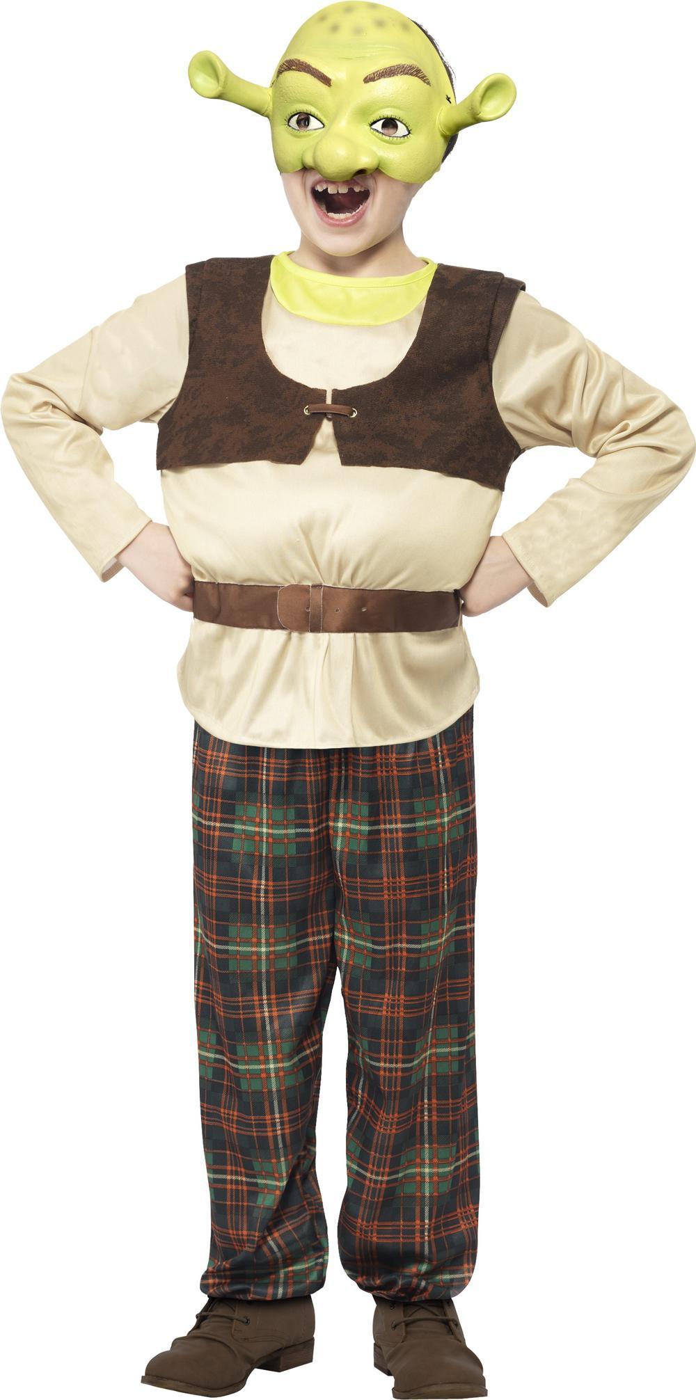 Shrek Boys Fancy Dress Fairytale Ogre Kids Childrens Halloween Costume + Mask