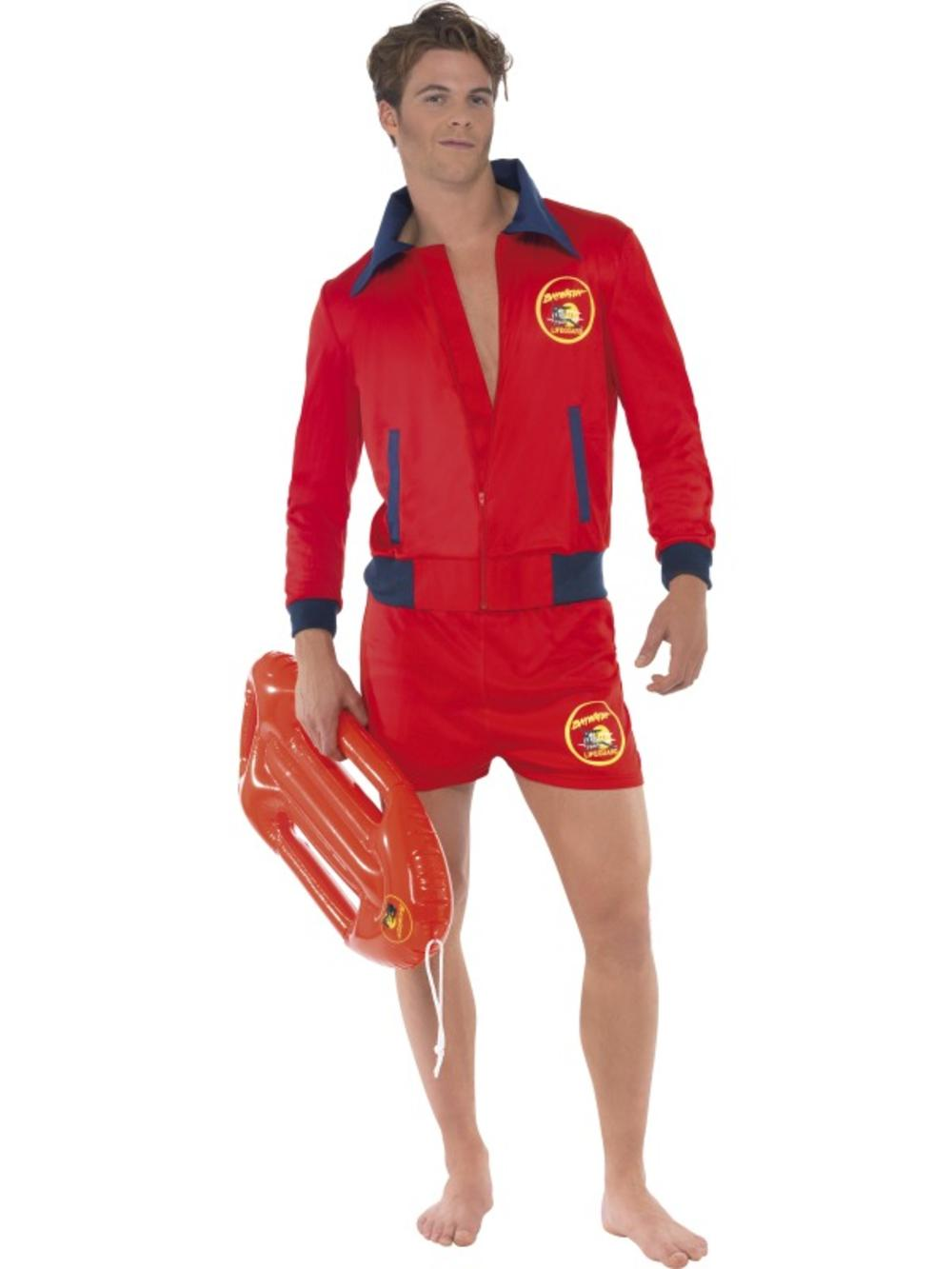 Men's Baywatch Lifeguard Jacket & Shorts Fancy Dress Adult Costume TV Outfit New