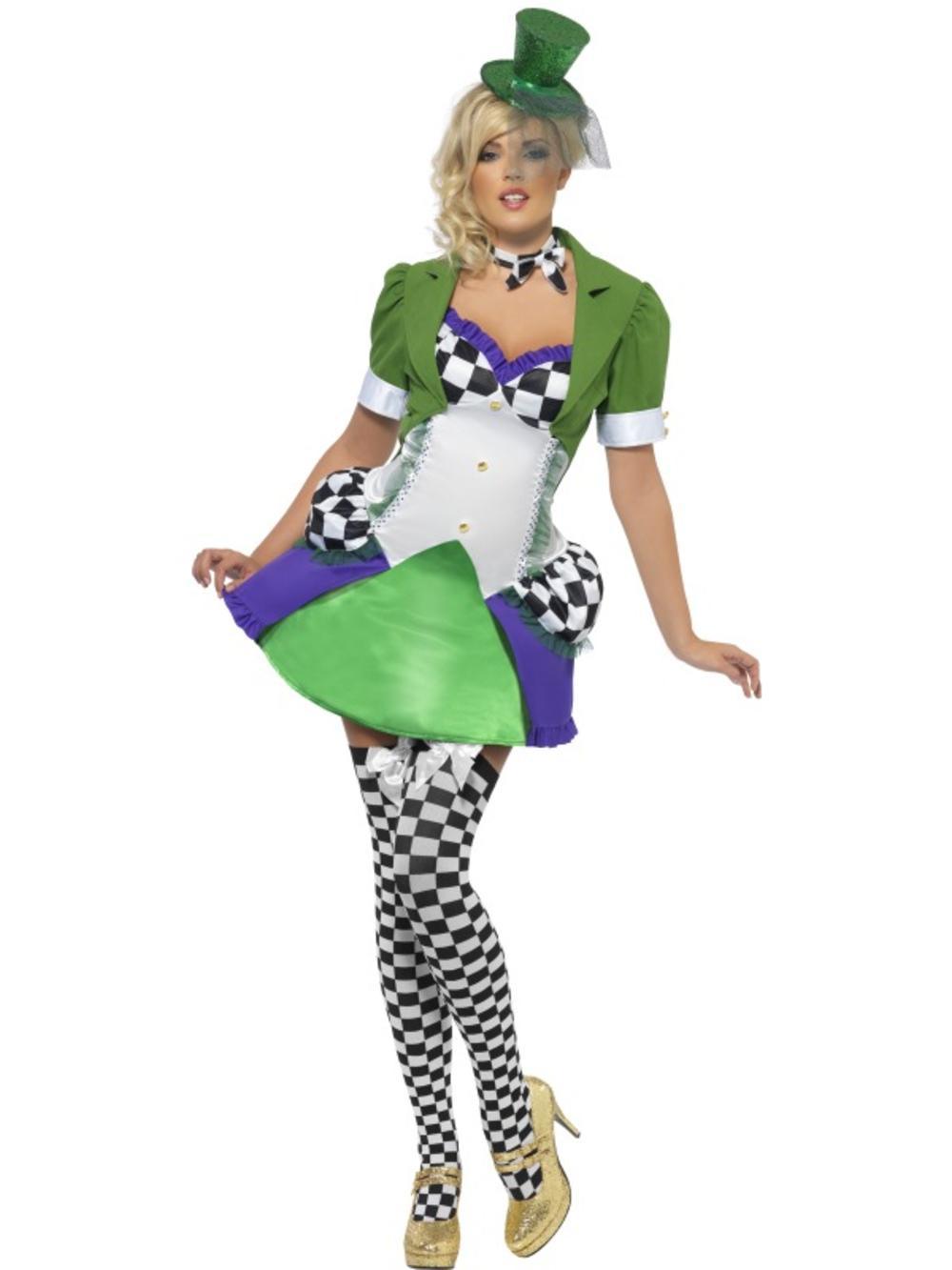 Sexy Miss Mad Hatter Ladies Fancy Dress Wonderland Fairy Tale Adults Costume